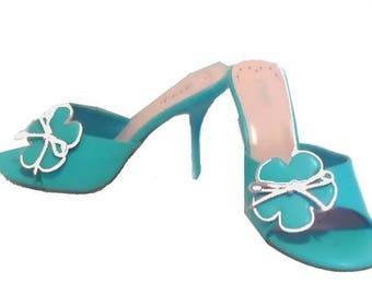 Vintage 1990's Women's Turquoise High Heel Sliders size 6.5