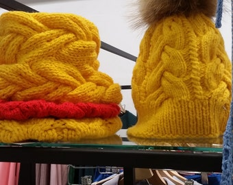 Yellow hat and scarf