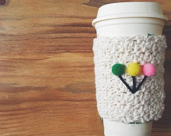 BALLOON Coffee Cozy, Coffee Sleeve, Handmade Coffee Cozies