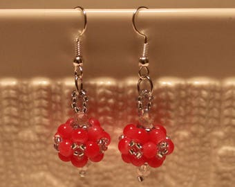 Beautiful czech crystal-beaded earrings in Fuchsia-color; handmade, beadweaving, dangle & drop, cute, casual-wear, party-wear