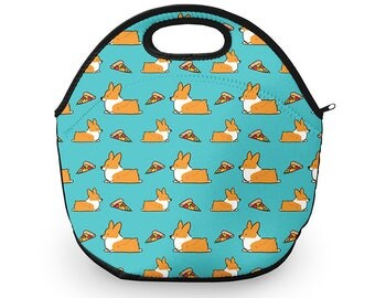 Blue Corgi Pizza Neoprene Lunch Tote | 12 x 12 inches with Zip Top | Customizable and Made to Order
