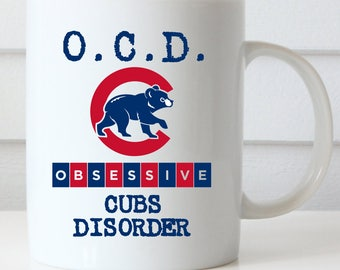 Chicago Cubs Coffee Mug, Obsessive Cubs Disorder, Cubs Fan, Central Division Champions, GO CUBS GO Coffee Mug, Fly the W