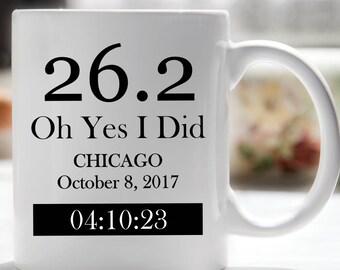 Chicago Marathon, New York Marathon, Runners Coffee Mug, Marathon Mug, 26.2 Oh Yes I Did, Athletic Mug