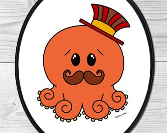 Red Steampunk Octopus with Mustache and Tophat Large Wood Wall Plaque