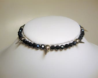 Spiked Choker, Beaded Chokers,Industrial Jewelry, Goth Jewelry, Chokers, Fashion Jewelry,Silver Spiked Jewelry,Biker Jewelry,Fashion Chokers