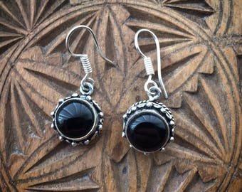 Black onyx silver plated earrings