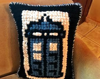 Doctor Who Pillow, Crochet Doctor Who Pillow, Tardis Pillow, Tardis Decorative Pillow