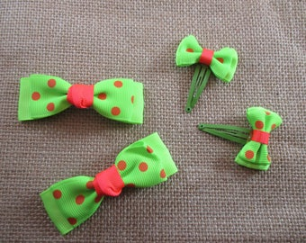 Hair bow hair, fashionable colors neon green and pink.