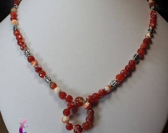 Necklace carnelian faceted beads silver-plated CO81