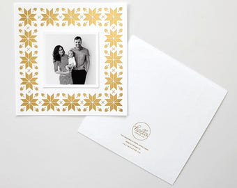 Snowflake Pattern Gold Foil Stamped Holiday Photo Card