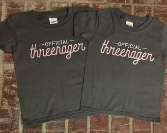 THREENAGER official three year old teenager 3 year old birthday shirt