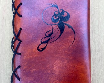 Refillable Leather Journal A5 with Vinyl Design - Multiple Designs Available - Makes a great Journal Gift for Mother's Day