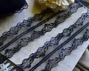 3 yds Black lace trim I Lingerie lace trim I lace trim I Tulle lace trim I lace I Black lace I Black trim I Vintage lace trim I Tulle lace