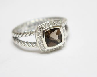 Used David Yurman  Albion Ring with SMOKY QUARTZ and DIAMONDS Size 8