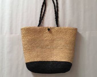 large straw tote | two tone sisal straw bag | black and natural shoulder tote