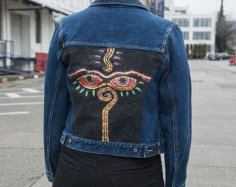 Vintage 'Buddha Eyes' Denim Jacket