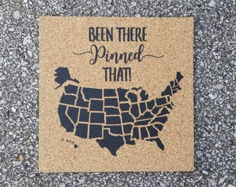 Been There Pinned That Map! Push Pin Cork Travel Map of the United States - Pinnable Cork Map of the USA - Travel Map