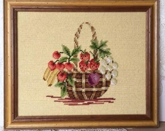 Vintage Needlepoint, Fruit Basket Framed Needlepoint, Country Cottage Decor