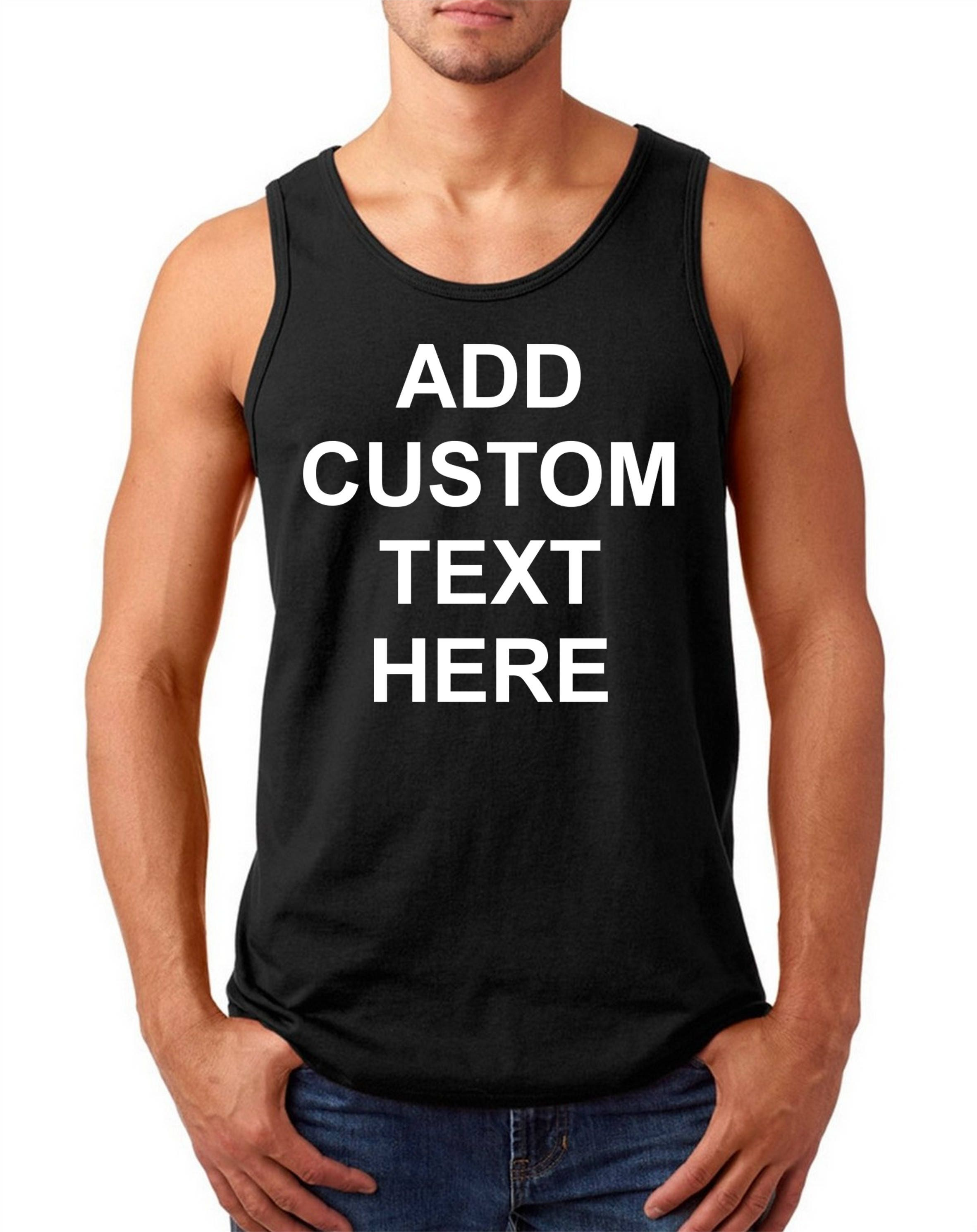 Men 39 s tank top custom t shirt your own text business for Custom t shirts add photo