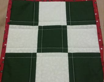 Green and White Checked Hot Pad