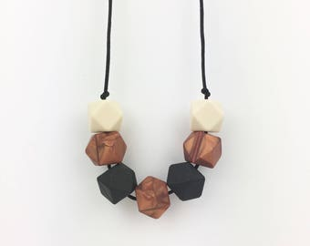 "Teething Necklace ""Melody"", silicone, breastfeeding necklace, teething jewellery, nursing necklace, geometric, statement necklace, copper"