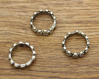 10pcs Skull Ring Charms Antique Silver Tone 22x22 6mm high cf1338