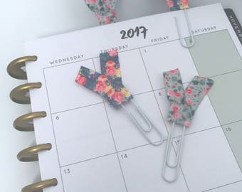 Floral Planner Clips School Supplies Ribbon Paper Clips Back to School or Home Office Bookmarks Planner Accessories