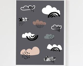 Clouds Charcoal Grey Children's Art Print