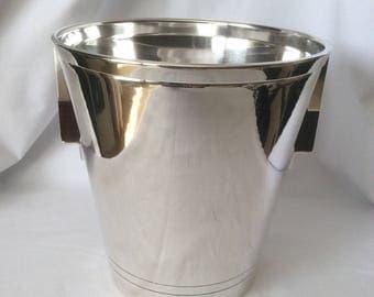 De Uberti Silver Plate Champagne Bucket With Zebra Wood Handles