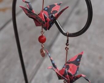 Earring, crane, origami & copper