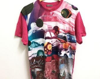 RARE!!! Junko Koshino Fullprint Design Crew Neck Pink Colour T-Shirts L Size