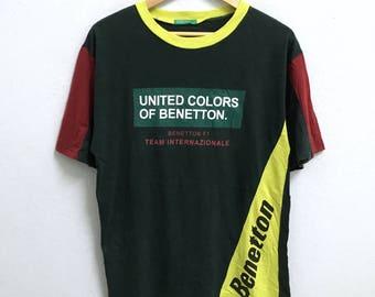 RARE!!! United Colors Of Benetton Big Logo Crew Neck Multicolour T-Shirts M Size