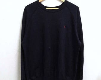 RARE!!! Polo Ralph Lauren Small Pony Embroidery Crew Neck Dark Blue Colour Sweatshirts Hip Hop Swag M Size
