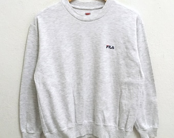RARE!!! Fila Biella Italia Small Logo Embroidery Crew Neck Light Grey Colour Sweatshirts Hip Hop Swag M Size