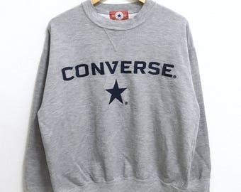 RARE!!! CONVERSE Big Logo Embroidery Crew Neck Grey Colour Sweatshirts Hip Hop Swag L Size