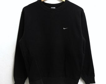 RARE!!! Nike Swoosh Small Logo Embroidery Crew Neck Black Colour Sweatshirts Hip Hop Swag M Size