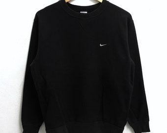 RARE!!! Nike Swoosh Small Logo Embroidery Crew Neck Black Colour Sweatshirts Hip Hop Swag M Size