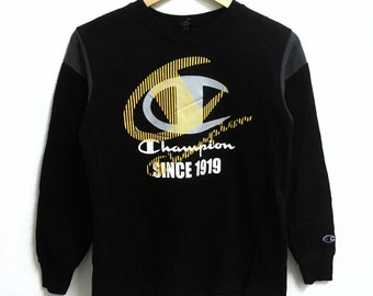 RARE!!! Champion Big Logo Crew Neck Black Colour Sweatshirts Hip Hop Swag 160 (Boys) Size