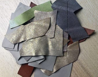 Set falls leather brown tones / taupe / glitter / gold
