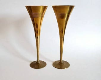 Polished Brass Toasting Flutes