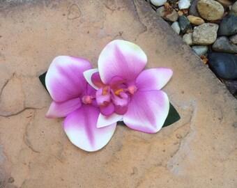 Double purple orchid tropical flower hair clip