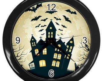 Halloween wall clock decor haunted house Halloween decor bats clock