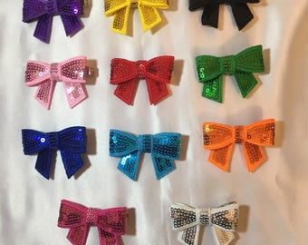 Sequin bow, children's hair accessories, hair clips, party hair piece. Girls hair bow, sparkly head band, stocking filler.