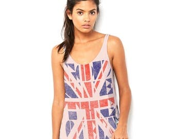 Union Jack God Save the Queen Women's Novelty Scoop Neck, Flowy Tank with Side Slit with Unique Design