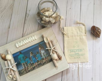Beach Themed Wedding Favor Bags, 100% Cotton 5x 7inches Pouches
