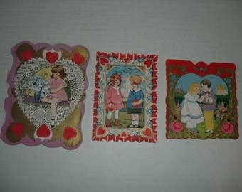 8)  Three Vintage Valentine Cards.