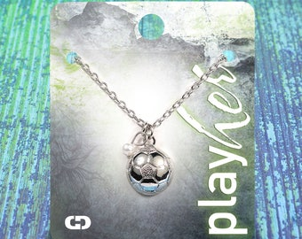 Customizable Silvertoned Soccer Necklace with Pearl - Personalize with Jersey Number, Heart Charm, or Letter Charm! Great Soccer Gift!
