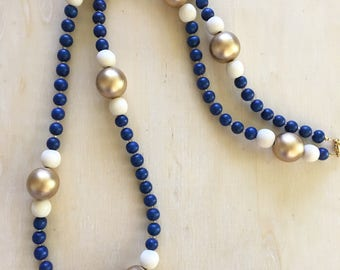 Extra Long Beaded Necklace, Royal Blue Necklace, Single Strand Necklace, Colorful Beaded Necklace, Statement Necklace