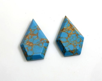 18Ct 25X15X4mm Blue Copper Turquoise Fancy Cut Loose Gemstones - Designer Top Quality Natural Blue Copper Turquoise Gemstone for Jewelry