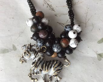 Gemstone Necklace, Obsidian Necklace, Dalmatian Jasper Necklace, Zebra Pendant, Beaded Necklace